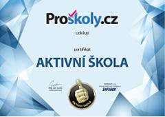 Certifikát Aktivní škola ze serveru Proskoly.cz